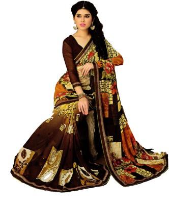 GreatIndiaFashion Printed Fashion Synthetic Georgette Sari