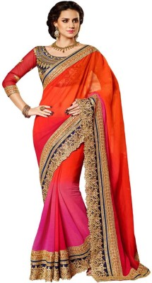Fitfashion Embriodered Rajshahi Synthetic Georgette Sari