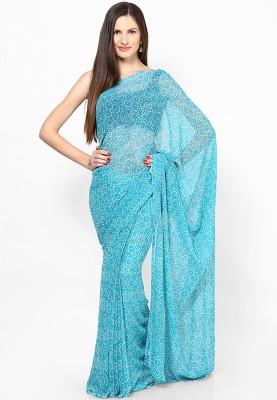 Prateek Exports Printed Bandhej Chiffon Sari