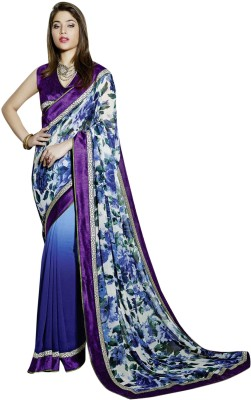 Vibes Printed Fashion Georgette Saree(Blue) at flipkart