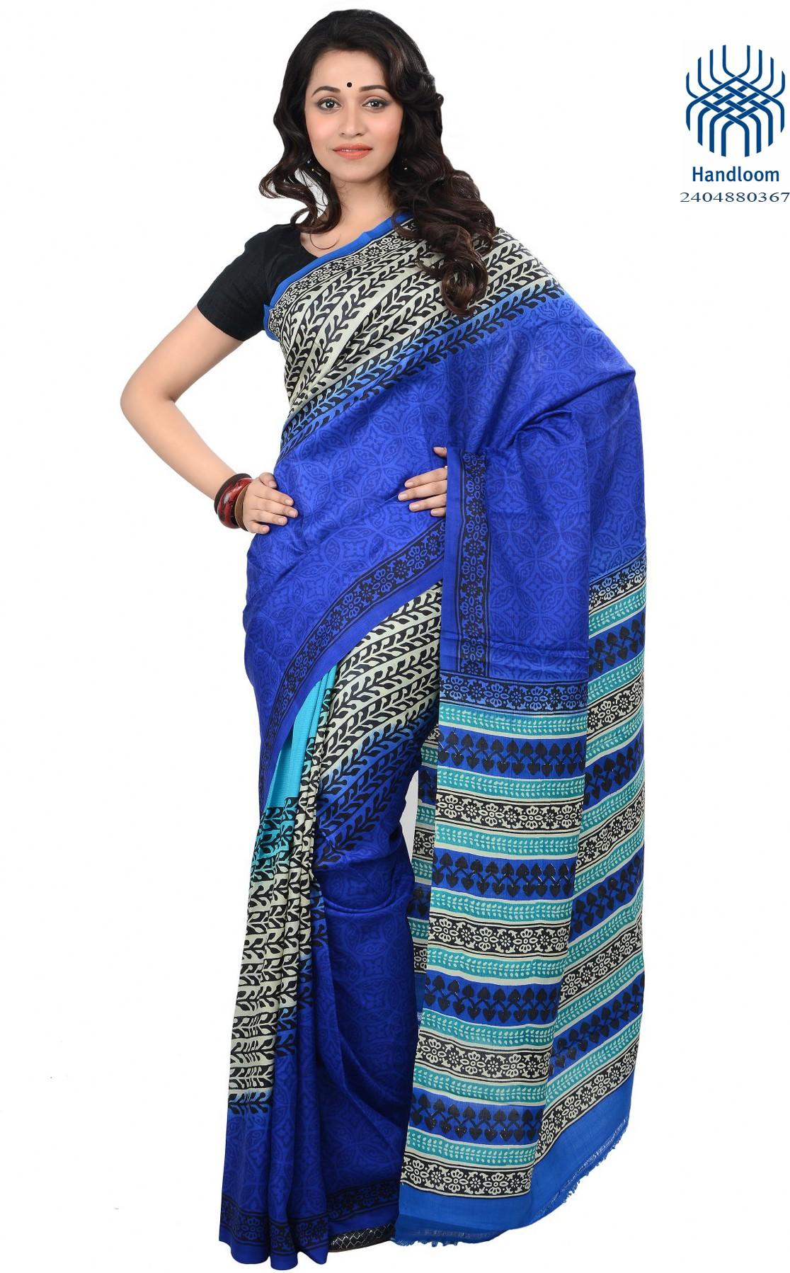 Tantuja Printed Fashion Handloom Silk Saree(Blue, Black)