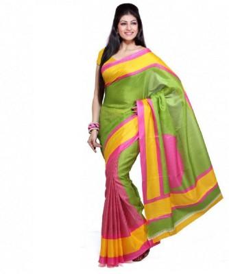 Lime Striped Bhagalpuri Handloom Art Silk Sari