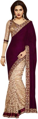 Hanscreation Embriodered Bollywood Handloom Velvet Sari