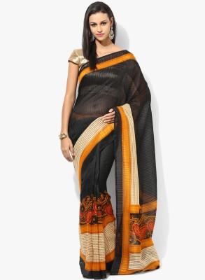 The Designer House Solid, Printed Bhagalpuri Silk Sari