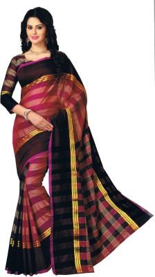 Dwiti Ethnic Striped Fashion Handloom Cotton Linen Blend Sari