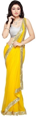 Bollywood Designer Solid Fashion Georgette Sari