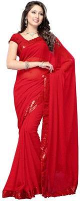 Jhankar Fab Plain Bollywood Georgette Sari