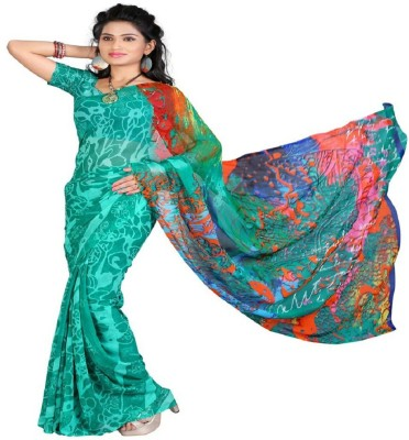 FabPandora Printed Fashion Georgette Saree(Green) at flipkart