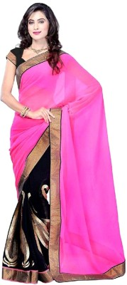 Vivels Enterprise Solid Bollywood Chiffon Sari