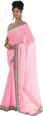 Vikrant Collections Checkered Chanderi Georgette Sari