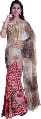 EthnicQueen Printed Fashion Georgette Sari