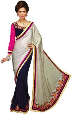 Dilwaa Self Design, Embriodered Fashion Georgette, Satin, Jacquard Sari
