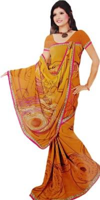FabStella Floral Print Chanderi Chiffon Sari