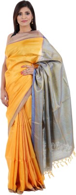 Elle Ethnic Solid, Woven, Plain, Embriodered Daily Wear Handloom Tussar Silk Sari