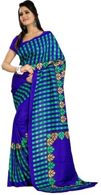 Geordie Checkered, Floral Print, Self Design Fashion Art Silk Sari