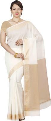 Mimosa Woven Banarasi Cotton Saree(White) at flipkart