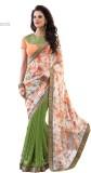 H Raj Solid Fashion Georgette Sari (Ligh...