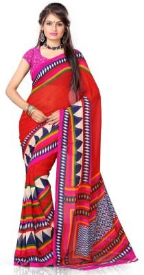 Lime Printed Fashion Handloom Georgette Sari