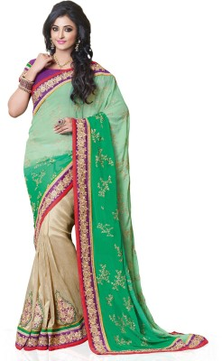 Style Merger Embriodered Fashion Georgette Sari