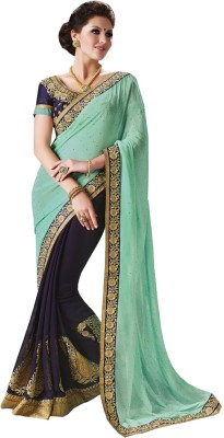 Queenbee Embellished, Embriodered, Self Design Fashion Georgette Sari