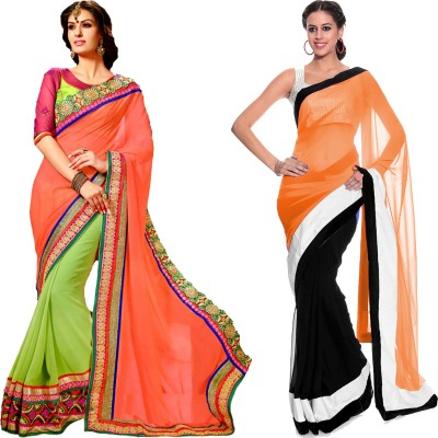 MAA CREATION Solid Fashion Georgette Sari