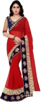 Sonu Creation Embroidered Bollywood Georgette Sari(Red)