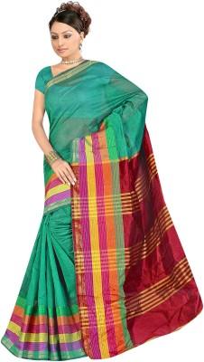 SareeShop Plain, Striped Chanderi Polycotton Sari