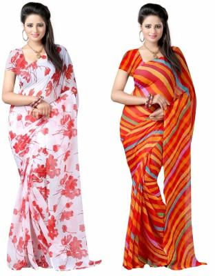 Aaditri Floral Print, Striped Daily Wear Chiffon Sari