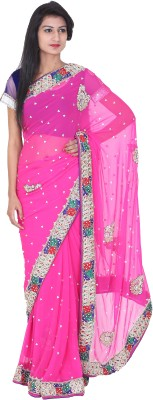 Rakshucollection Self Design Fashion Georgette Sari
