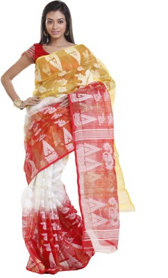 Sanrocks Global Fashions Printed Jamdani Cotton Sari