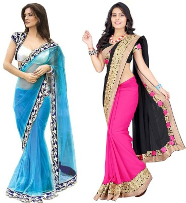 Angel Creation Solid Fashion Georgette, Net Sari