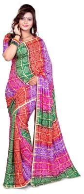 Araham Printed Bandhej Synthetic Sari
