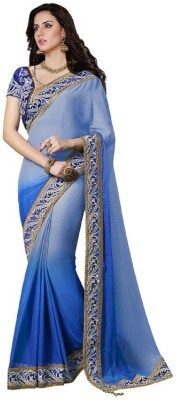 Vidya Fashion Embroidered Bollywood Chiffon Saree(Blue) at flipkart