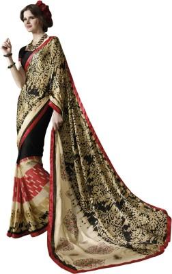 Triveni Printed Fashion Satin, Chiffon Sari(Black) at flipkart