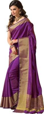FASHIONCRETE Plain Kanjivaram Tussar Silk Sari