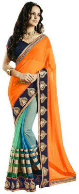 Youth Mantra Striped, Embriodered Bollywood Georgette, Net Sari