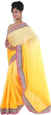 Vikrant Collections Plain Maheshwari Georgette Sari