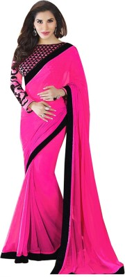 Aditya Creation Plain, Self Design Fashion Georgette Sari