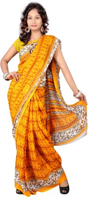 Suali Printed Fashion Synthetic Georgette Saree(Yellow) at flipkart
