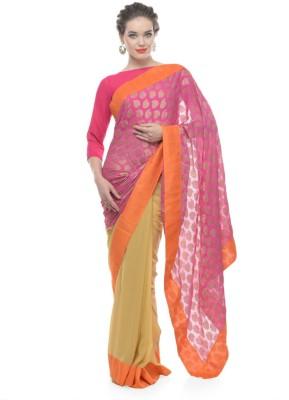 Purple Oyster Self Design Bollywood Georgette Sari
