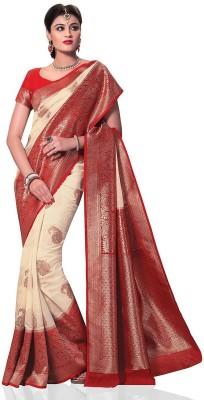 FASHIONCRETE Solid Banarasi Jute Sari