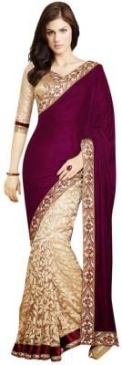 Fashion And Hub Self Design Bollywood Handloom Velvet, Georgette Saree(Maroon) at flipkart