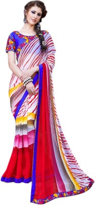 Style Merger Embriodered, Printed Daily Wear Chiffon Sari