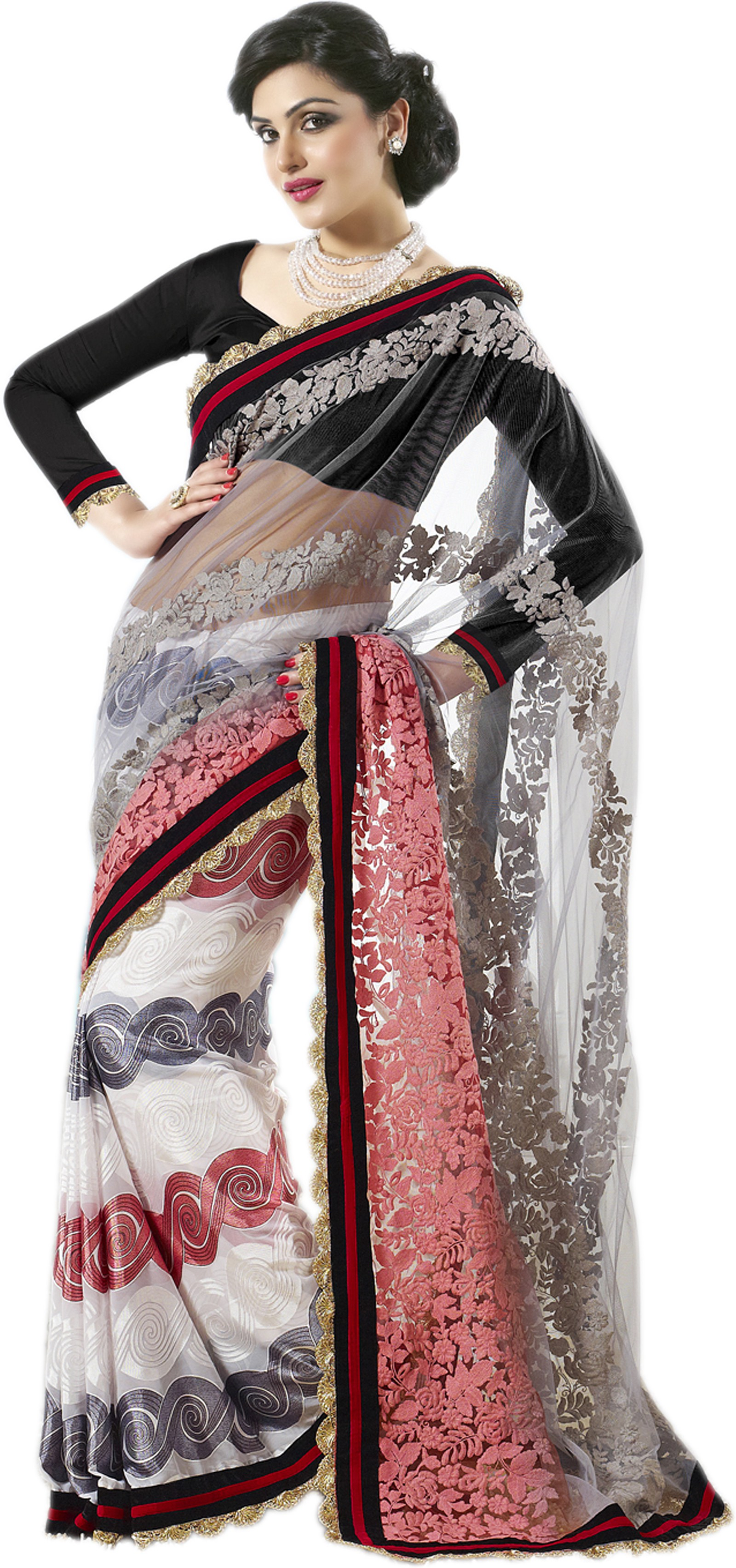 Rudraksh Fashion Embriodered Bollywood Georgette Sari