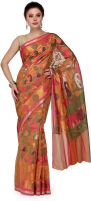 Shad Banarsi Woven Banarasi Banarasi Silk Sari(Orange)
