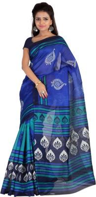 Suali Printed Bhagalpuri Silk Saree(Blue) at flipkart