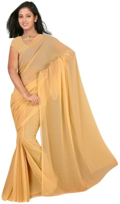 Shreeji Designer Plain Daily Wear Pure Georgette Sari