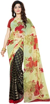 Fabdeal Floral Print Fashion Georgette Sari