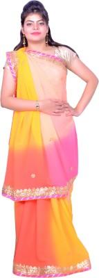 Prishi Impex Self Design Lehenga Saree Pure Georgette Sari