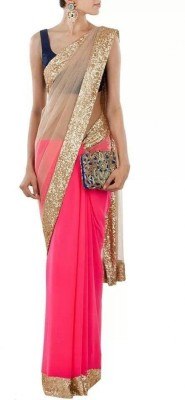 Rozdeal Self Design Fashion Net, Georgette, Chiffon Sari